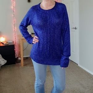 Blue multicolor cable knit sweater
